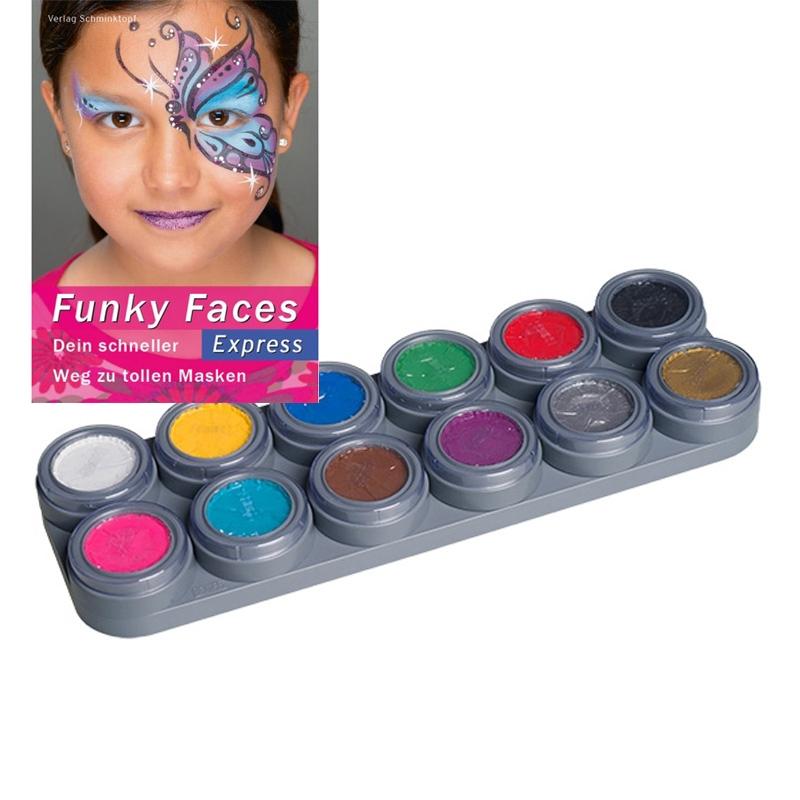 Schminke für Kinder im Set 12 Farben Palette A Schminkanleitungen