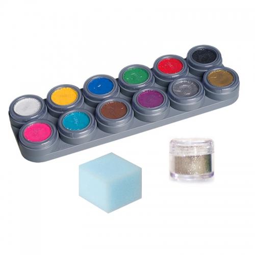 Kinderschminke Set 12 Palette A Schwamm Glitzer Set