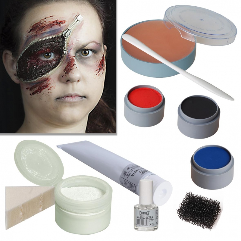 halloween schminke set zipper face zombie reissverschluss schminken profi make up. Black Bedroom Furniture Sets. Home Design Ideas