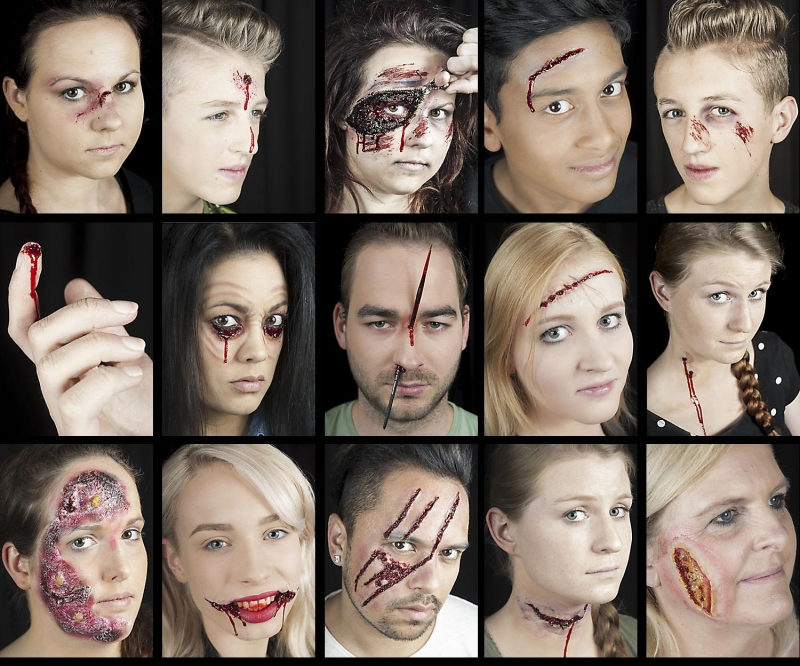 Halloween Makeup professional set makeup opened gaping gashes burn ...