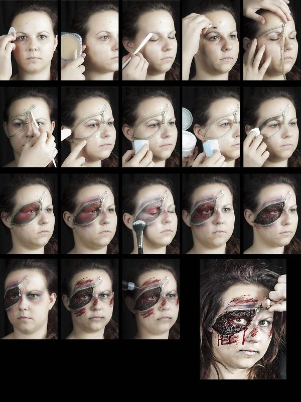 halloween schminke set zipper face zombie reissverschluss schminken profi make up. Black Bedroom Furniture Sets. Home Design Ideas