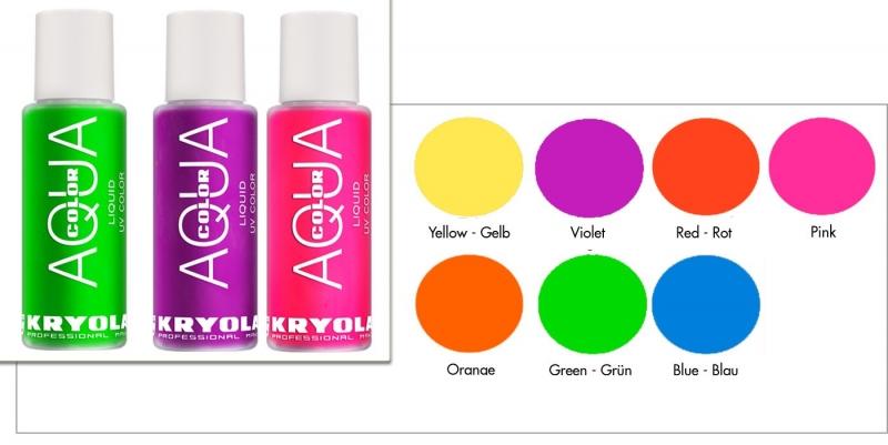 Kryolan AQUACOLOR LIQUID Bodypainting UV Farbe 30 ML