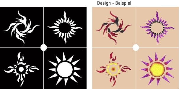 glitter tattoo schablonen set sonne make up schminke profi theaterschminke schminken. Black Bedroom Furniture Sets. Home Design Ideas