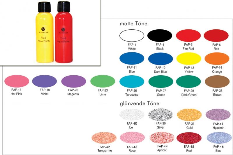Fluid Aqua Paints - 100 ml - Bodypainting Farbe