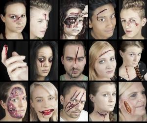 Halloween Schminke Profi Set geöffnete aufgerissene klaffende Wunden Brandwunde schminken