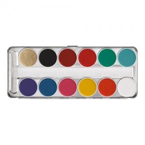 Kryolan Aquacolor Schminkpalette FP 12 Farben