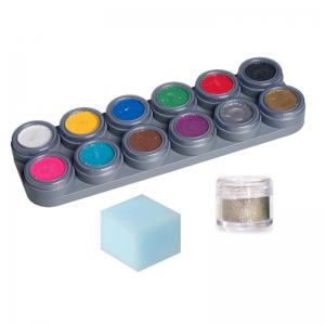 Water Make-up Set 12 Color Palette Glitter Sponge