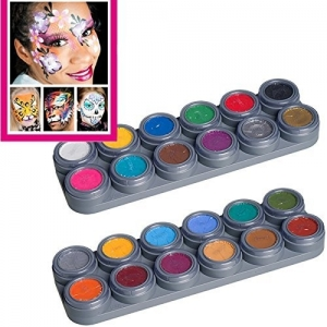 GRIMAS Water Make up Kinderschminke Theaterschminke Palette 24 Farben Schminkanleitungen Set