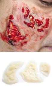 Verbrennung - Zombie Haut Silikon Teil P1-3