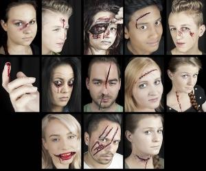 Halloween Schminke Set geöffnete aufgerissene klaffende Wunden schminken