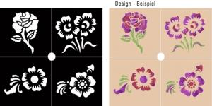 Glitter Tattoo Schablonen Set - Blüten