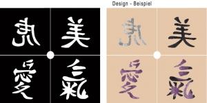 Glitter Tattoo Schablonen Set - Chinesische Zeichen