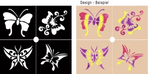 Glitter Tattoo Stencil Set - Butterfly