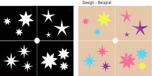 Glitter Tattoo Schablonen Set - Sterne