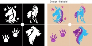 Glitter Tattoo Stencil Set - Animals 2
